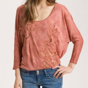 FREE PEOPLE | Dolman Long Sleeve Lace Applique Med